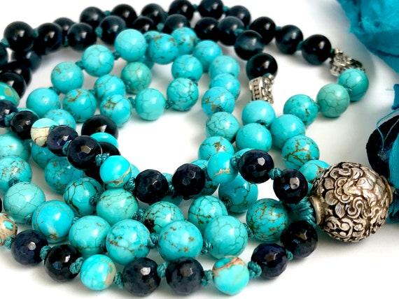 Protection Mala Beads Turquoise Magnesite Mala Necklace Tiger Eye Bali Silver 8 Auspicious Symbols Prayer Beads Yoga Jewelry