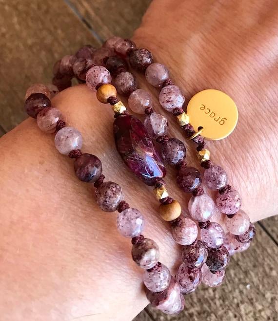 Open Your Heart Mala Bracelet Mala Beads Cherry Quartz Ruby Pink Tourmaline Infinity Necklace Heart Chakra Jewelry Meditation Yoga Gift