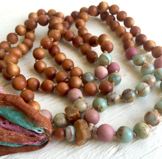 SANDALWOOD MALA African Opal Beads  Sapphire Necklace Boho Jewelry Long Tassel Necklace Meditation Gift Bohemian Jewelry Mala Prayer Beads