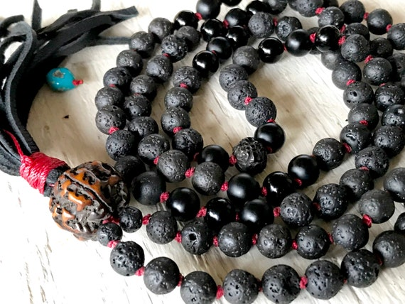 Black Lava Mala Beads Onyx Mala Necklace Boho Gift Kabbalah Jewelry  Diffuser Beads Rudraksha Red String Protection Beads