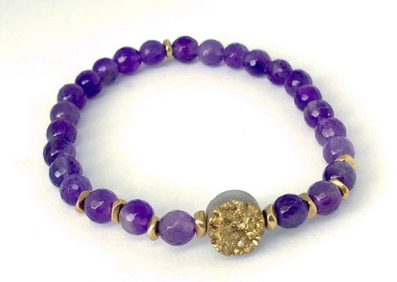 Druzy Bracelet Amethyst Bracelet Boho Bracelet Druzy Jewelry Stretch Bracelet February Birthstone Boho Jewelry Chakra Healing Crystals