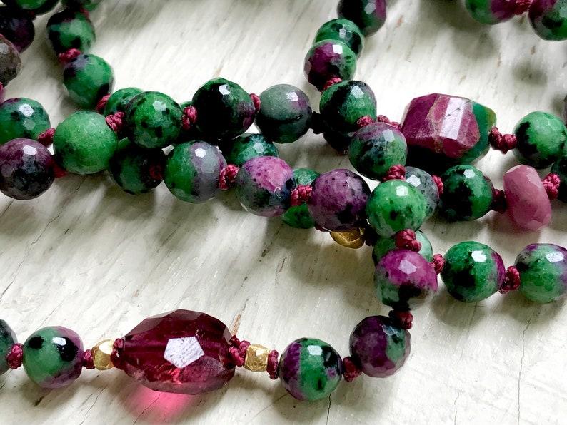 Heart Chakra Healing Gemstones Yoga Beads Pink Tourmaline Mala Necklace Ruby Zoisite Beaded Bracelet Ruby Infinity Necklace