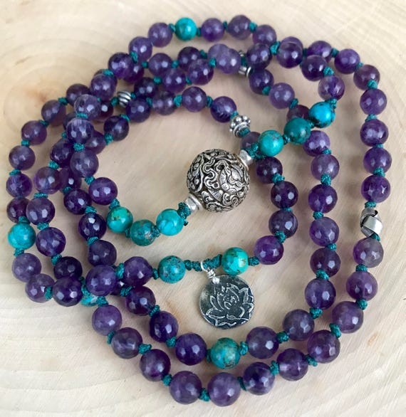 New Beginnings Mala Amethyst Mala Bracelet Turquoise Mala Beads Lotus Yoga Bracelet Protection