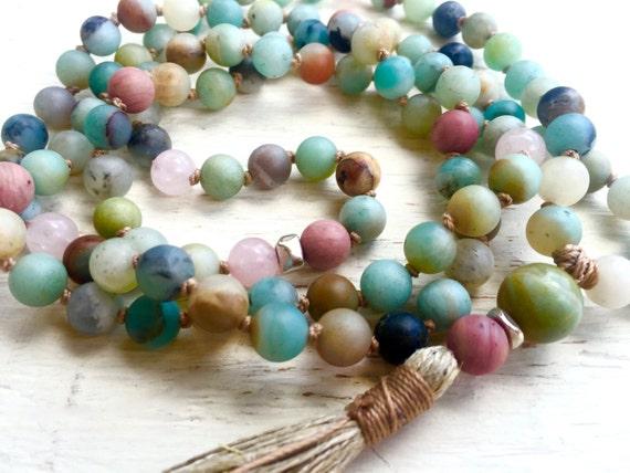AMAZONITE MALA Beads Rose Quartz Yoga Necklace Knotted Mala 108, Japa Mala, Healing Jewelry Buddhist Mala, Prayer Beads