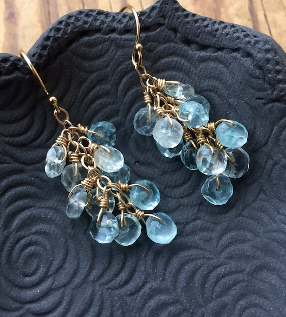 Aquamarine Cluster Earrings, March Birthstone, Gift Ideas For Her, Bridal Gift