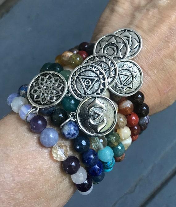 CHAKRA BRACELETS Healing Gemstones Yoga Jewelry Spiritual Gift Chakra Balancing Chakra Healing Yoga Gift