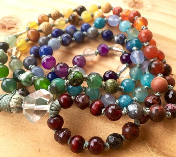 CHAKRA MALA BEADS Petite Chakra Mala Spiritual Jewelry Mala For Healing 108 Mala Beads Healing Stones Yoga JewelryYoga & Meditation Gift