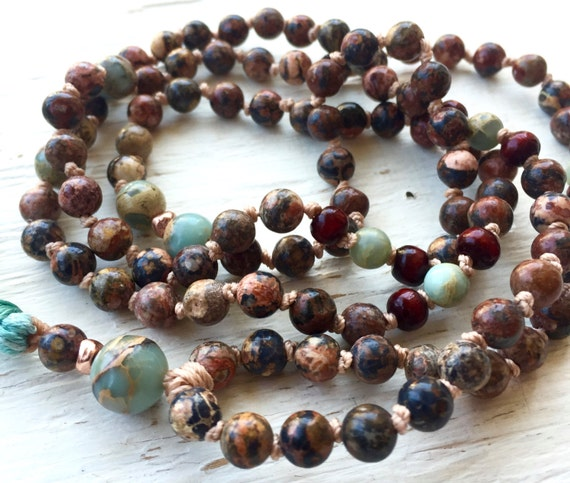 108 Mala Beads Leopard Skin Jasper African Opal, Rosewood, Tassel Necklace Root Chakra Unisex Boho Mala Meditation Beads, Yoga Jewelry