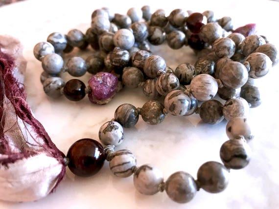 Knotted Ruby Mala Beads, Garnet Mala Necklace, Scenery Jasper Tassel Necklace, January Birthstone, Yoga Beads Boho Meditation Beads