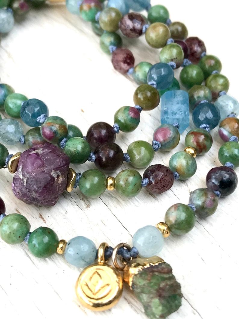 Loving Heart 108 Mala Beads Ruby Zoisite Ruby Tourmaline and Aquamarine Knotted Bracelet Yoga Jewelry Meditation Beads