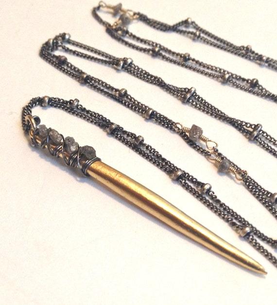 DIAMOND NECKLACE , Raw Diamond , Spike Necklace Mixed Metal Long Necklace Modern Layered Necklace Boho Jewelry April Birthstone