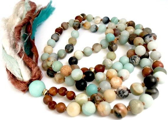 I am Calm Amazonite Mala Beads Sandalwood Mala Necklace Long Tassel Necklace Boho Yoga Jewelry