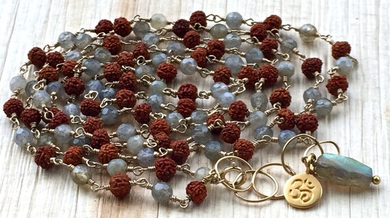 Mala Necklace Mala Beads Labradorite Necklace Rudraksha Rosary Boho Wire Wrapped Long Necklace Yoga Jewelry Wrap Bracelet Gift with Meaning