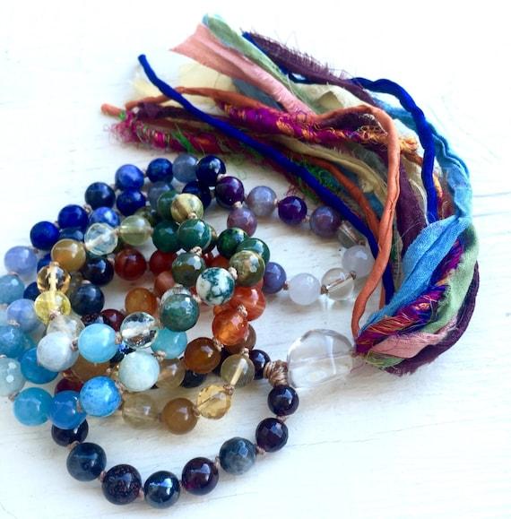 Chakra Jewelry Chakra Mala Beads Healing Crystals Chakra Tassel Necklace 108 Beads Yoga Jewelry