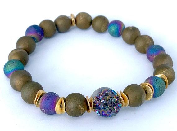 Druzy Beaded Bracelet Rainbow Druzy Bracelet Stretch Bracelet Boho Jewelry Stack Bracelet Gemstone Bracelet Agate Druzy Bohemian Jewelry