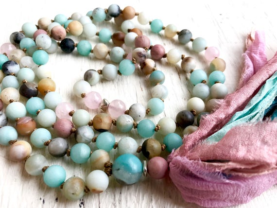 108 MALA BEADS Amazonite Mala Beads Rose Quartz Necklace Chakra Necklace Gift with Meaning Tassel Necklace Yoga Gift Yoga Jewelry Meditation