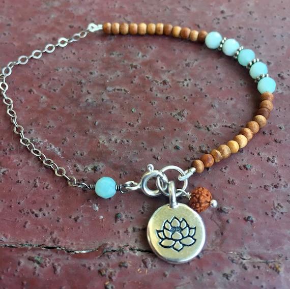 Mala Bracelet , Sandalwood  Amazonite Rudraksha Lotus Recycled Sari Spiritual Jewelry Healing  Delicate Stacked Bracelet Gift with Meaning