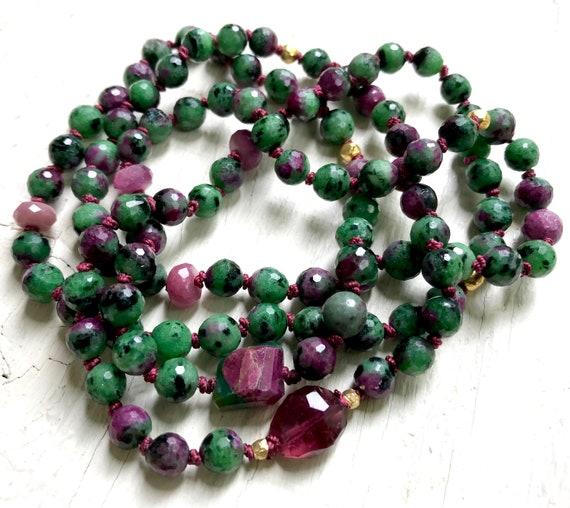 RUBY ZOISITE MALA Anyolite Mala Beads 18K Gold Mala Pink Tourmaline Mala Beads Heart Chakra Mala Anahata Mala Ruby Mala Beads
