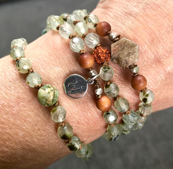 Mala Necklace Sandalwood Mala Beads Prehnite Rudraksha Sapphire Infinity Necklace Heart Chakra Jewelry Yoga Gift Beaded Bracelet Meditation
