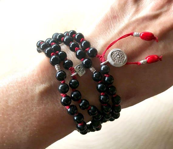 108 ONYX MALA BEADS, Bohemian Jewelry Root chakra Mala Beads Onyx Mala Bracelet Jewelry With Meaning Kabbalah Mala, Boho Mala Beads