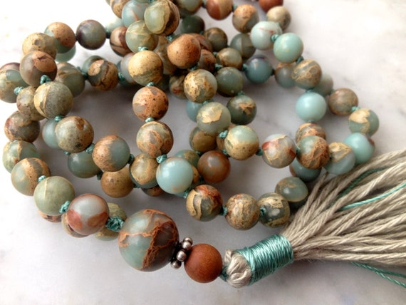 SANDALWOOD MALA, Tassel Necklace, Bohemian Mala Beads, African Opal, Unisex Gift, 108 Bead Mala, Mental Health Gift October Birthstone