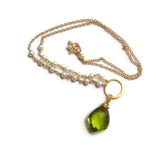 Genuine Pearl Necklace Peridot Quartz Pendant Wedding Jewelry June & August Birthstone Jewelry Heart Chakra Jewelry - Bridal