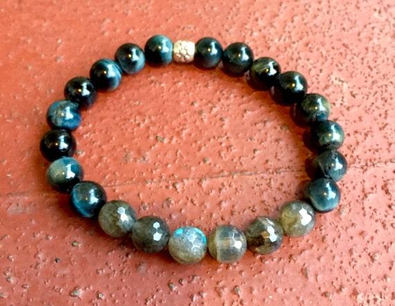 Labradorite Bracelet Tiger Eye Mala Bracelet Boho Jewelry Wrist Mala Buddhist Prayer Beads Yoga Bracelet Yoga Jewelry Unisex Mala Bracelet