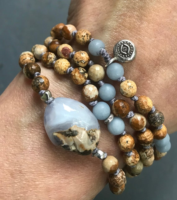 Mala Beads for Protection Blue Chalcedony Beaded Bracelet Picture Jasper Angelite Third Eye Chakra Healing Spiritual Jewelry, Buddha Beads