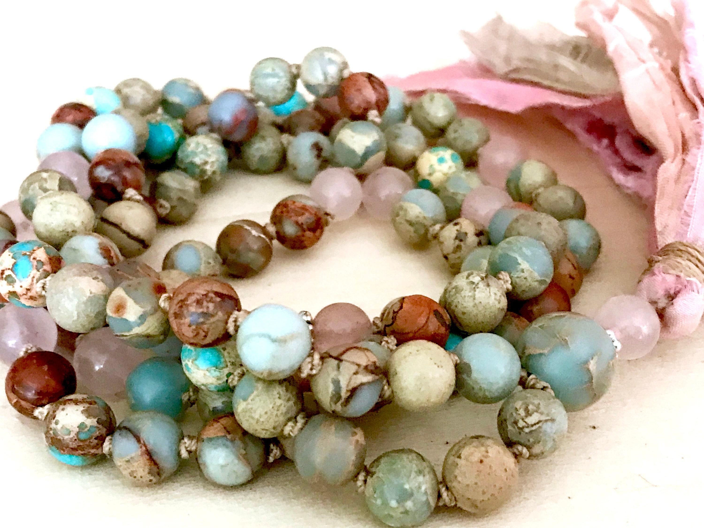 BREAST CANCER MALA Survivors Rose Quartz Mala African Opal Healing Beads  Boho Mala Prayer Beads Cancer Awareness Mantra Meditation Yoga