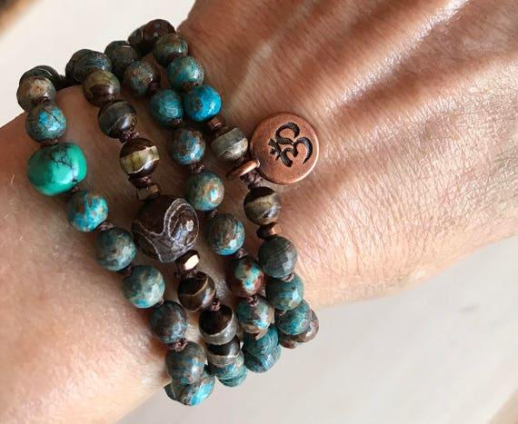 BOHEMIAN MALA BEADS, Turquoise Mala Bracelet, Dzi Beads, Earthy Lotus Yoga Bracelet For Him