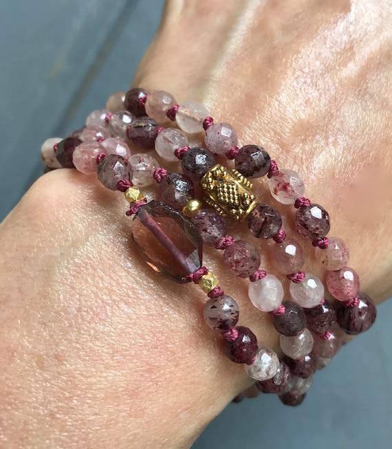 HEART CHAKRA MALA Beads Tourmaline Mala Necklace Cherry Quartz Infinity Mala Beads  Spiritual Gift Heart Chakra Mala