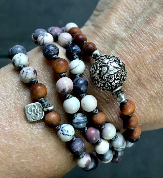 Protection Mala Beads Jasper Beaded Bracelet Sandalwood Mala Necklace 8 Auspicious Symbols Infinity Necklace