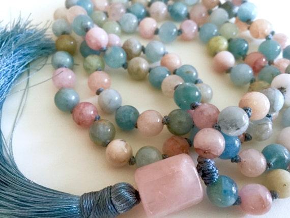 MALA NECKLACE Aquamarine Mala Beads Morganite Necklace Chakra Healing Long Tassel Necklace Knotted Mala Beads Yoga Jewelry March Birthstone