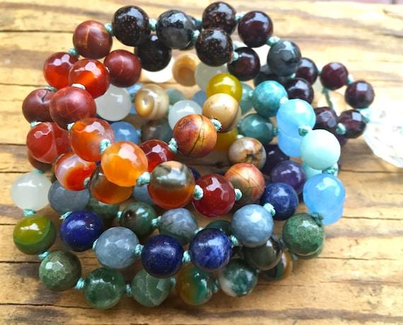 CHAKRA MALA BEADS, Chakra Jewelry, Healing Gemstones, Japa Mala, Healing Crystals, Mantra Meditation, Spiritual Jewelry Yoga Meditation Gift