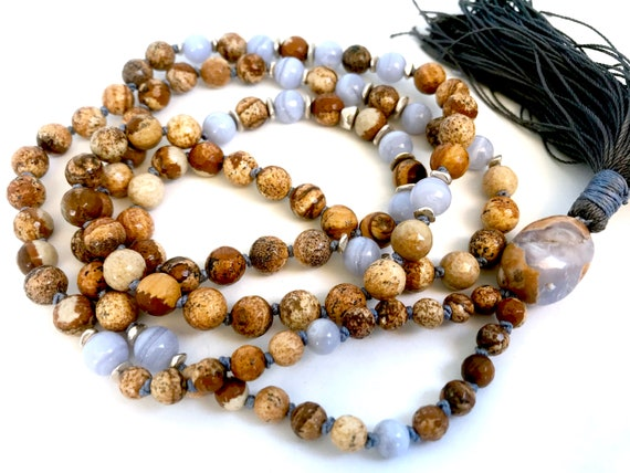 I am Supported, Mala Necklace for Stress Relief, Blue Lace Agate & Picture Jasper Mala Beads, Bohemian Jewelry