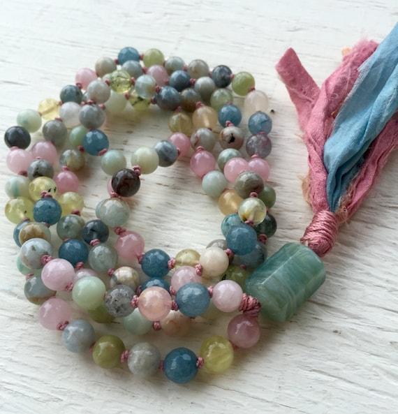 AQUAMARINE TASSEL NECKLACE, Aquamarine Mala, Knotted Necklace, Long Tassel Necklace, Chakra Beads, Spiritual Jewelry, Yoga Gift, Meditation