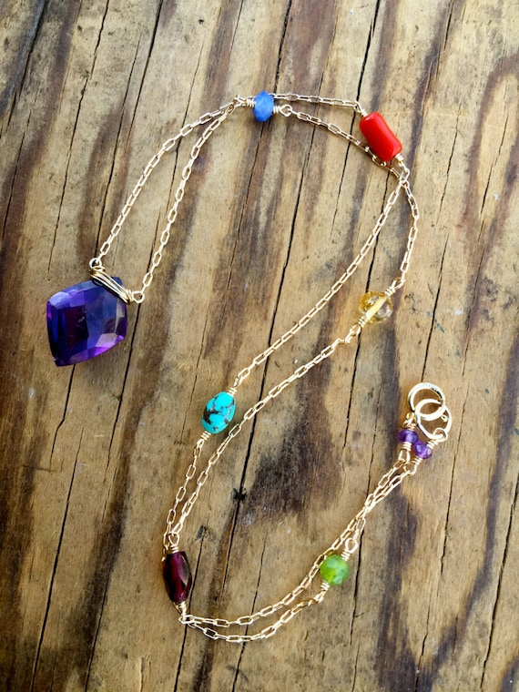 Chakra Necklace Chakra Jewelry Amethyst Gemstone Crown Chakra Spiritual Gift Yoga Jewelry to Balance the Chakras