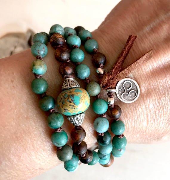 Boho Mala Beads, Mala For Protection Turquoise Mala Beads Sandalwood Mala Necklace Knotted Mala Bracelet Boho Jewelry - Heart Chakra Mala
