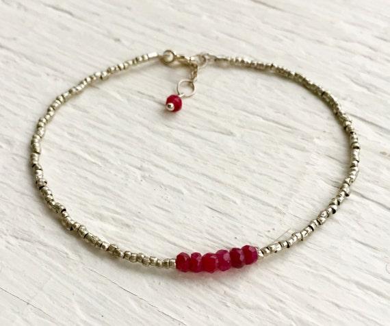 July Birthstone Gift Genuine Ruby Bracelet Gift For Wife Delicate Bracelet Gift For Women Holiday Present