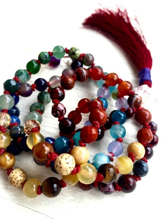 Chakra Mala Necklace 108 Mala Beads Herkimer Diamond Red String Kabbalah Jewelry Protection Jewelry