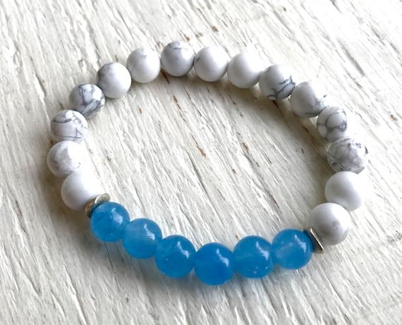 SUMMER FASHION - Stretch Bracelet - Fashion Gift - Howlite Bracelet  - Yoga Jewelry - Girlfriend Gift - Blue Chaldedony - Beaded Bracelet -