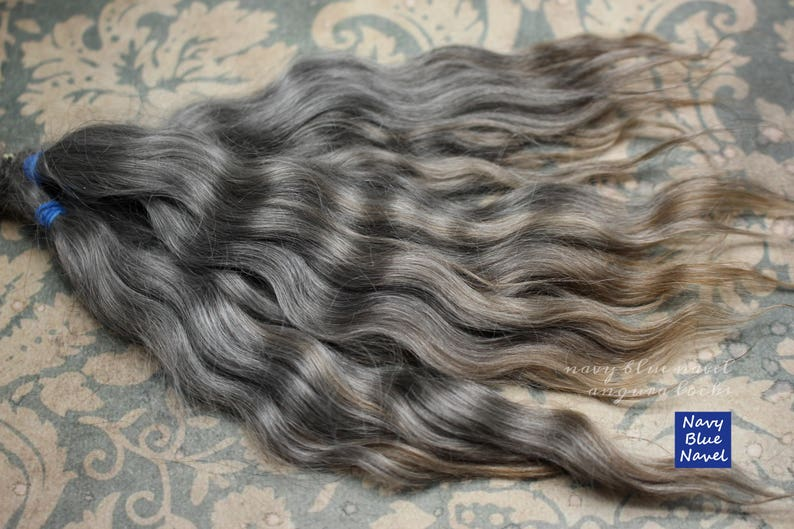 GRAY natural grey mohair fibers 20 cm cleaned and combed ready for doll hair: wig or reroot mohair locks 8
