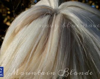 "1/2 oz 5"" ""Mountain Blonde"" SURI ALPACA STRIPED mixed white  natural washed and combed Suri alpaca fiber, ready for reroot"