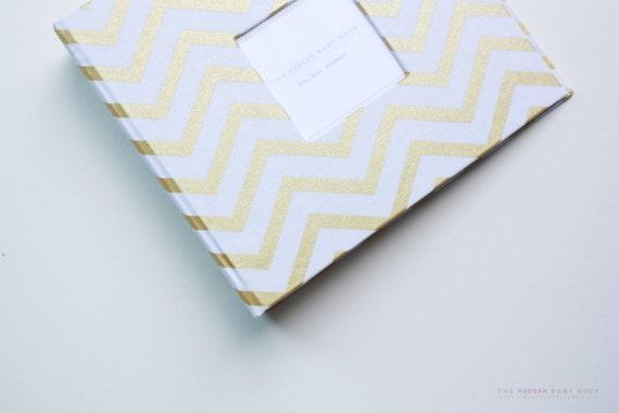 Free Shipping New Gold Chevron Stripe Modern Baby Book Baby Etsy