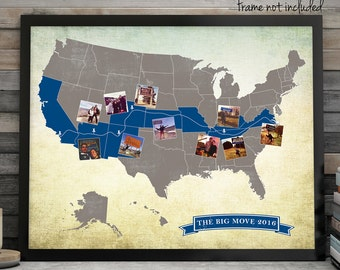 Custom USA Road Trip Map, USA Travel Map, Long Distance Love Map, Custom USA Map, Custom Wedding Map, Long Distance Travel Map