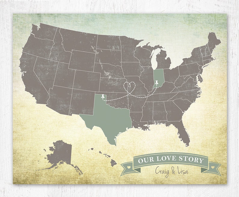 Outlined States Us Map Art Print United States Map Custom Etsy - Highlight-states-on-us-map