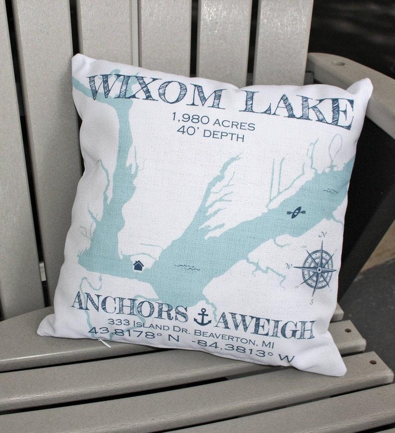 Custom Lake Map Pillow Lake House Pillow Personalized Lake image 0