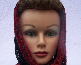 Handknit red black scarf, Handknit black cowl, Handknit neckwarmer, Merino bamboo scarf, Merino lace cowl, Merino neckwarmer