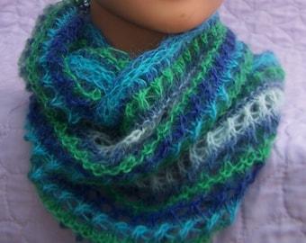 Blue green alpaca cowl, Merino infinity scarf, Blue green infinity scarf, Merino cowl, Lace cowl, Lace infinity scarf, Blue Neckwarmer