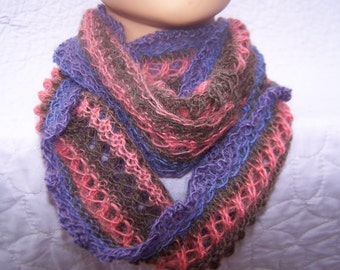 Pink brown blue alpaca cowl, Merino infinity scarf, Pink blue infinity scarf, Merino cowl, Lace cowl, Lace infinity scarf, Pink Neckwarmer